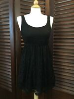 Forever 21 Women's Black Dress Lace Overlay LBD Skater Fit & Flare Stretch Small