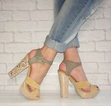 RIVER ISLAND Yellow Suede Grey Leather Strappy Platform Block Heels Size 5 / 38