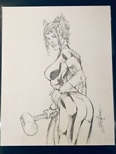 """Shelby Robertson Lady Thor Signed Commission Original Comic Art 11""""X17"""""""