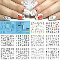1Sheet Nail Water Decals Animals Love Patterns Transfer Stickers 3D Nail Art DIY