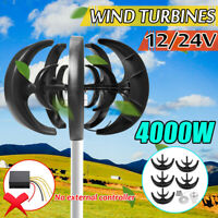 4000W 12V/24V 5 Cuchillas Viento Generador Turbina Eje Vertical Controlador