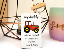 Personalised Wooden Keyring Farmer Tractor Daddy Dad Grandad Gifts Fathers day
