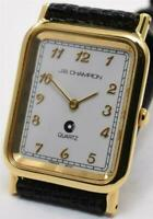 NOS French Movement JB Champion Mens Gold Tank Watch White Dial Lizard Leather