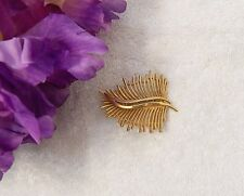 Petal Shrub Bush Branch Gold Ton Vl-At Classic Pin Brooch Fern Frond Leaves Tree
