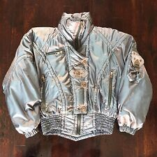 Vintage Women's KAELIN Shiny Silver Ski Jacket Stars & Studs Trim L / XL