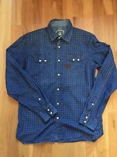G star Raw kids pearl snap button denim blue shirt size L kids vgc