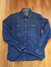 G star Raw kids pearl snap button denim blue shirt size L kids vgc