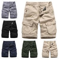 Mens Casual Cargo Combat Work Shorts Trousers Men Loose Cotton Sport Half Pants