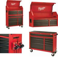 Tool Chest and Rolling Cabinet Set 46 in.16-Drawer Steel Textur Red Black Matte
