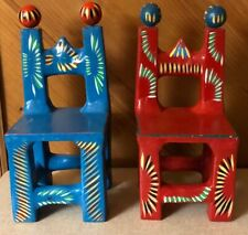 Pair of Hand Painted Blue and Red Chairs Mexican Folk Art Pottery Ortega Family
