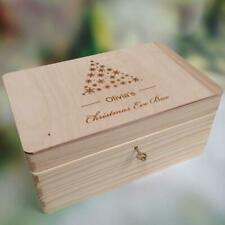 Lockable Natural Wooden Personalised Christmas Eve Box Customised with Name Case