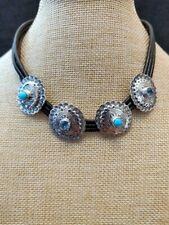 Chaco Canyon Sleeping Beauty Turquoise & Swiss Blue Topaz Leather Choker NWT