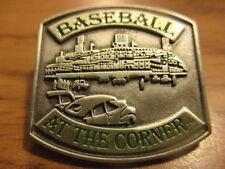 "NIP DETROIT TIGERS Baseball At The Corner 1 1/4"" Wide Metal Pin TIGER STADIUM"