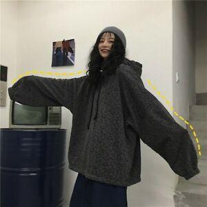 Unisex Lined Fleece Hoodie Gothic Harajuku Leopard Sweatshirts Hooded Loose Coat