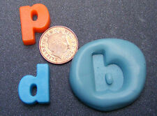"""Reusable Letter """"D"""" Or """"P"""" Silicone Food Safe Mould, Sugarcraft, Jewellery, Cake"""