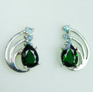 Natural Chrome Diopside & Zircon925 Silver 9ct 14k 18k Gold stud earrings