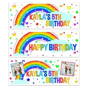 PERSONALISED RAINBOW HAPPY BIRTHDAY NAME PHOTO BANNERS WALL DECORATIONS ANY AGE