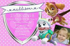 PAW PATROL PUPPY PUPPIES Birthday Invites Invitations + Loot Bag Topper