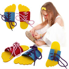 2x Learn To Lace Tie Shoes Practice Lacing Learning Shoe Children's Shoelace New