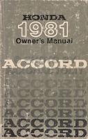 1981 Honda Accord Owners Manual Original Owner Guide Book Sedan Hatchback LX SE