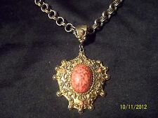 Vintage Hattie Carnegie Signed Gold Tn Ornate Pink Marbled Cab Pendant Necklace