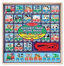 Melissa & Doug Alphabet Train Lacing Beads #9497 - 27 Wooden Train Beads