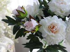 Bouquet Fleurs Pivoine Artificielles en Soie pr Décor Maison Mariage Blanc
