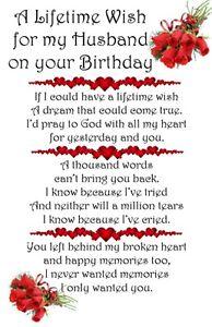Husband Birthday Bereavement Graveside Card memorial keepsake waterproof m7