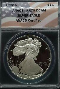 1992-S ANACS PR70 DCAM PROOF American Silver Eagle $1 FLAG LABEL PF70