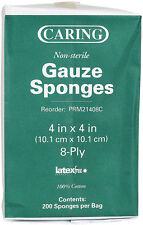 "SPONGE GAUZE Used to Clean and Cover Wounds Sleeve of 200ct 4"" x 4"" 8-Ply NS"