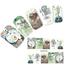 Nagel Sticker Tattoo Nail Art Skelett Figuren Aufkleber