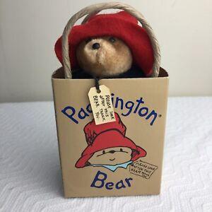"Vintage 1987 Eden Toys 5"" PADDINGTON BEAR in Bag w/ Tag Blue Coat Red Hat Boots"