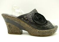 Spring Step L'Artiste Black Leather Floral Block Heel Shoes Womens 41 / 9.5 - 10