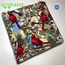 """ZooFleece Cardinals Birds Red Animal 50X60"""" Blanket Throw Cover Winter Warm"""