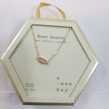 """a Day Rose Quartz Necklace Plated Chain Link Peace Self-love Acceptance 18"""""""