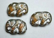 3 x Opal Bernstein farbende Elefanten Glasperle /  elephant beads