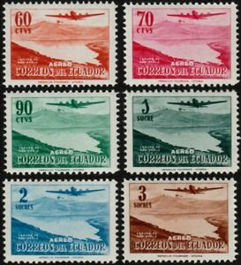 ✔️ ECUADOR 1954 - AIRMAIL AIRPLANES - SC. C264/C269 ** MNH [CRD17]