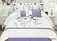 Off White Lavender Purple 7 Pcs Embroidery Comforter Set High Quality# Ward