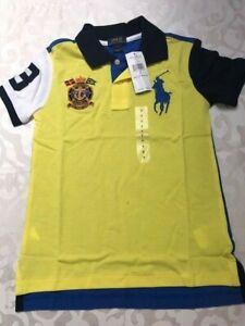 New luxury cute Ralph Lauren yellow stretch cotton blue logo top polo boy 7 $45