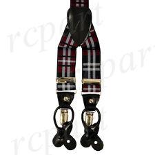 New in box Men's Suspender Braces Elastic Strap plaid & Checkers Burgundy