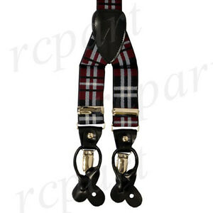New in box Men's Suspender Braces Elastic Strap plaid & Checkers Burgundy