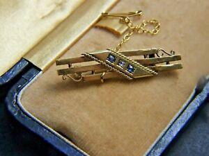 ANTIQUE  VICTORIAN 15CT. GOLD BAR BROOCH  W DIAMOND & 2 SAPPHIRES C.1890 GIFT