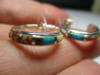 STERLING SILVER NEW SPINY OYSTER COPPER TURQUOISE PETITE HOOP .75 INCH EARRINGS