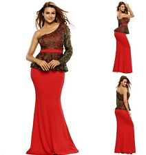 Sz 10 12 One Shoulder Peplum Red Lace Floral Formal Cocktail  Evening Long Dress