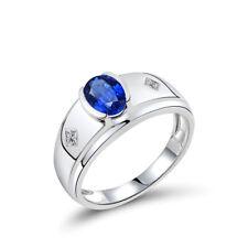 Hot! Jewelry Sets 18K White Gold Diamonds Engagement 1.12ct Sapphire Men Ring