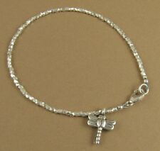 Dainty bracelet with dragonfly charm. Fine & sterling silver 925. Handmade.