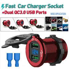 Quick Charge 3.0 Car Cigarette Lighter Socket Outlet USB Charger LED Voltmeter