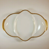 Vintage Fire King Gold Trim Milk Glass Divided Nut Dish Candy Relish Tray