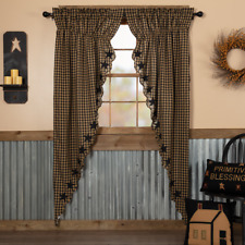 Black Star Scalloped Cotton Country Primitive Window Long Prairie Curtains