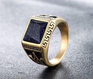 Men Punk Black Sandstone Masonic Gold Titanium Stainless Steel Ring 8-12
